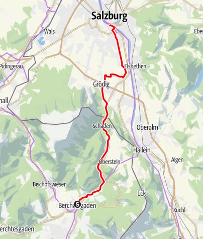 Map / Mozart Cycle Path – Stage 16: Berchtesgaden – Salzburg