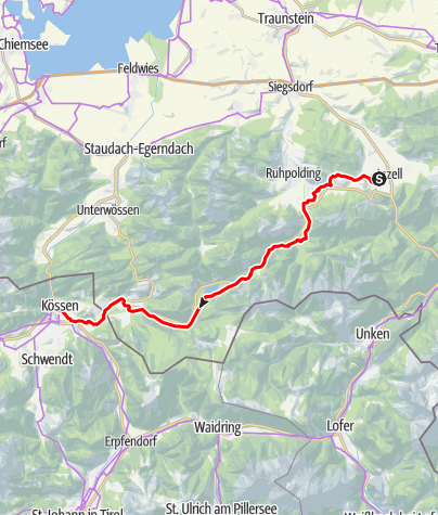 Map / Mozart Cycle Path – Stage  20: Inzell – Kössen (Variant, Part 3)