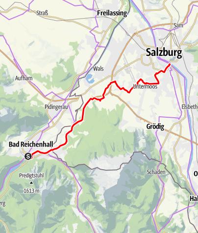 Map / Mozart Cycle Path – Stage 21: Bad Reichenhall – Salzburg