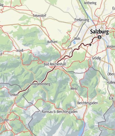 Karte / Jakobsweg: Etappe von Salzburg über Bad Reichenhall nach Unken