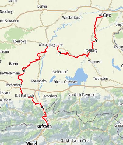 Karte / Auf dem Jakobsweg von Altenmarkt a.d. Alz bis Kiefersfelden