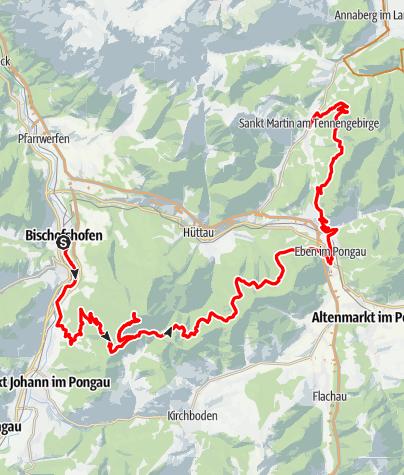 Map / Watzmann-Hochkönig South-Loop: Stage 1: Bischofshofen – St. Martin am Tennengebirge