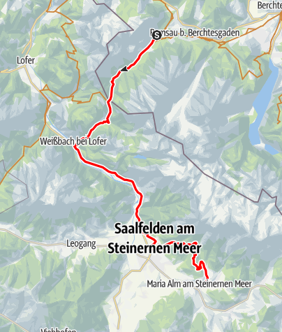 Map / Watzmann-Hochkönig South-Loop: Stage 4: Hintersee - Maria Alm