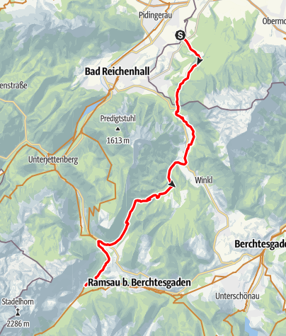 Map / Watzmann-Hochkönig North-Loop: Stage 5: Marzoll - Hintersee