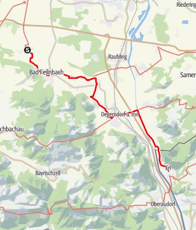 Karte / Jakobsweg Etappe 17 - Von Au bei Bad Aibling auf alten Saumpfaden ins Inntal