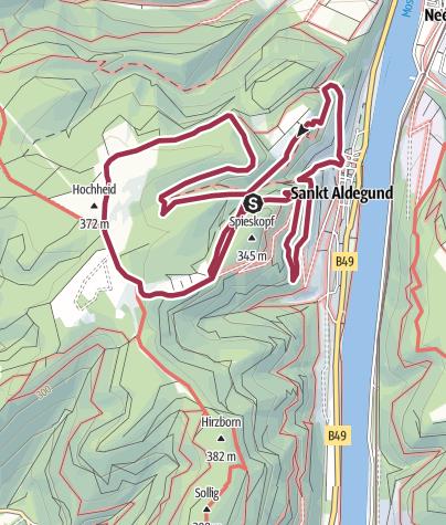 Karte / Moselsteig Seitensprung Felsen.Fässer.Fachwerk