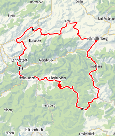 Karte / Bike Arena Sauerland - Rund ums Lennetal