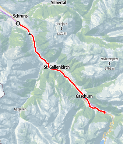 Karte / Illradweg Schruns - Partenen (E-Bike)