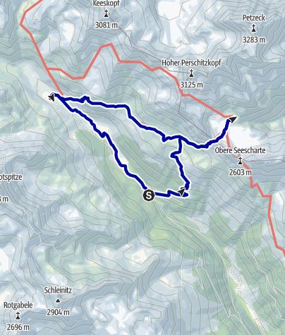 Kaart / Wangenitzseehütte (2508m) und Lienzer Hütte (1977m) von Seichenbrunn (1668m)