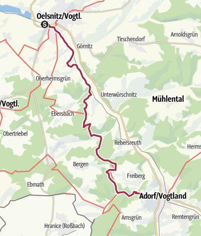 Karte / Von Oelsnitz nach Adorf