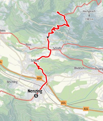 Karte / Walserweg E 06 – Durch die Jagdberggemeinden im Vorderen Walgau