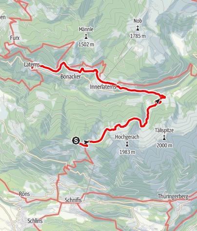 Karte / Walserweg E 07 – Im Laternsertal – bei den ersten Walsern in Österreich
