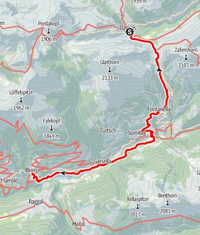 Karte / Walserweg E 12 – Im Biosphärenpark Großes Walsertal