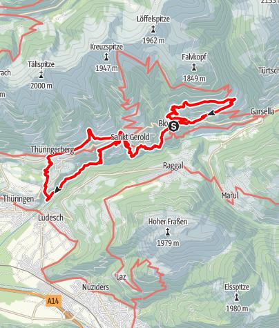 Karte / Walserweg E 13 – Über den Leusorgweg durch die Herrschaft Blumenegg