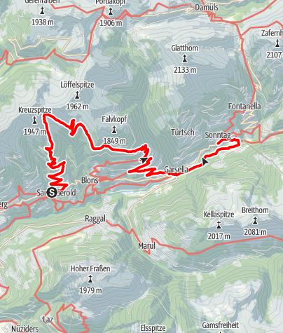 Karte / Walserweg E 14 – Auf Großwalsertaler Alpen