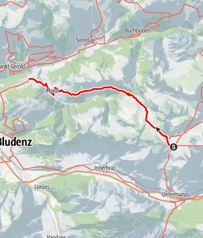 Karte / Walserweg E 21 – Vom Formarinsee über die Laguzalpe nach Raggal