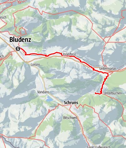 Kaart / Walserweg E 23 – Über den Kristbergsattel zu den Walsern im Montafon