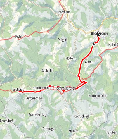 Karte / WAB - Etappe 6: Bad Schönau - Gschaidt