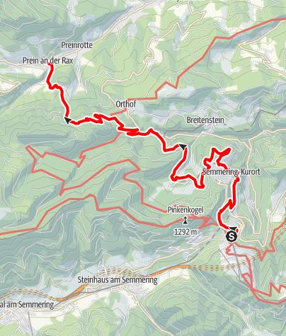 Mapa / WAB - Etappe 10: Semmering - Prein