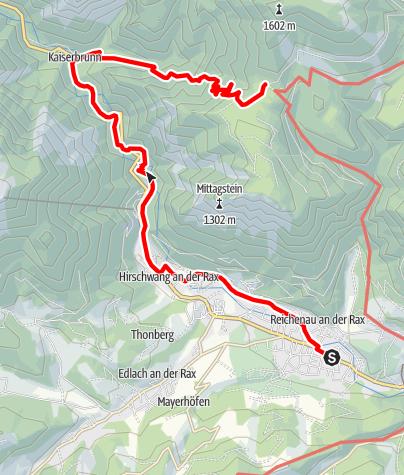 Karte / WAB - Etappe 13: Reichenau/Payerbach - Knofeleben