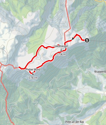 Map / Hut hopping in the Raxalpe area (Number 4: mountain station - Ottohaus - Seehuette)