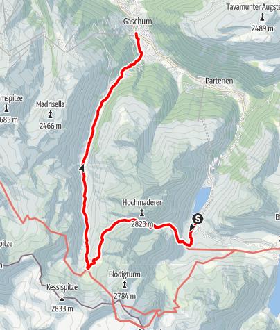 Map / Vom Vermuntstausee ins Garneratal