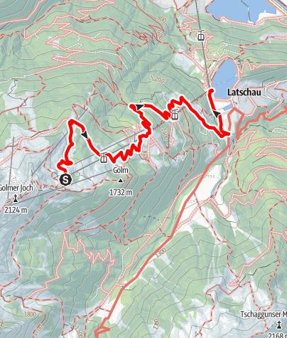 Karte / Von Grüneck über Golmalpe und Alpweg bis Latschau