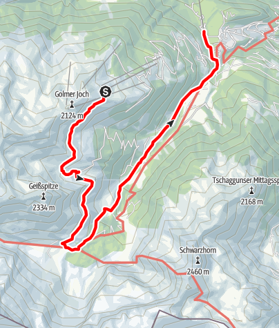 Map / Von Grüneck über Latschätzalpe und Lindauer Hütte nach Latschau
