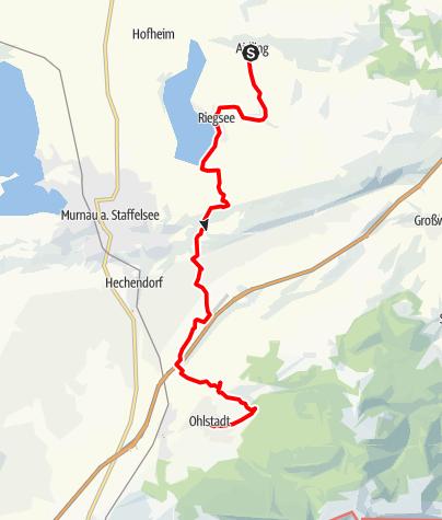 Karte / Meditationsweg Ammergauer Alpen im Blauen Land: 04.Etappe - Aidling - Ohlstadt