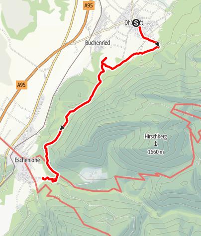 Karte / Meditationsweg Ammergauer Alpen im Blauen Land: 05. Etappe - Ohlstadt - Eschenlohe