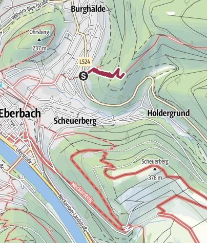 Karte / Burgruine Eberbach - Fernblick von historischer Stätte