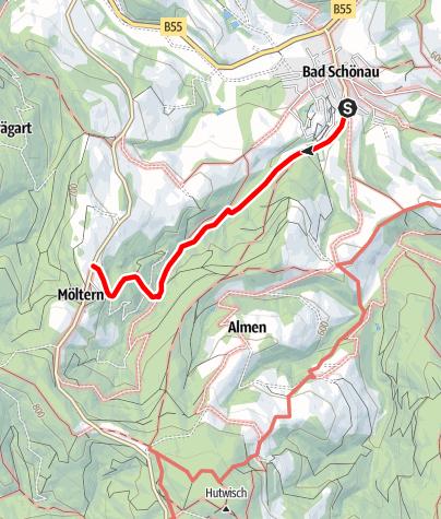 """Karte / Weg zum """"Hohen Stein"""" und nach Möltern"""