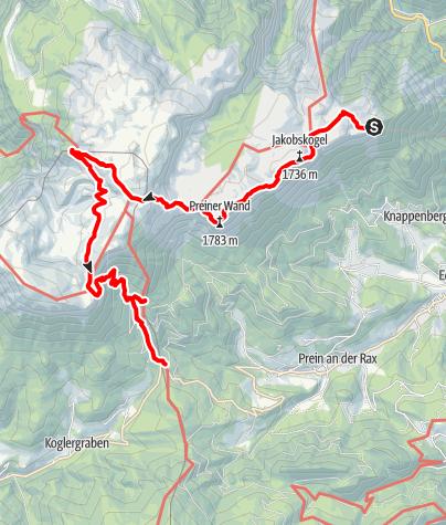 Mapa / Hüttenhüpfen auf der Raxalpe (Variante 1)