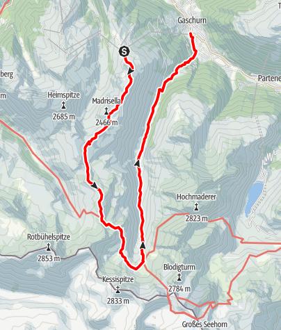 Karte / Tübinger Hütte über Matschuner Joch