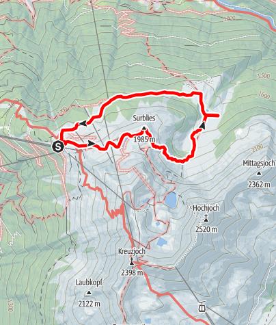 """Karte / Alpwanderung Innerkapell über Aussichtspunkt """"Surblies"""""""