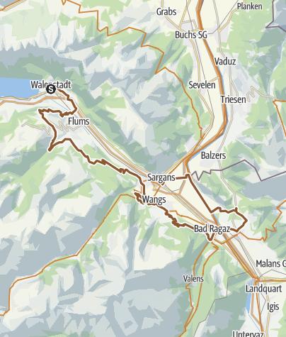 Karte / 025.02 Heidiland Bike Etappe 2 Walenstadt - Sargans