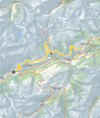Karte / 90.01 Graubünden Bike Etappe 1 Trun - Laax