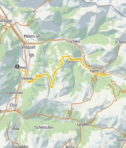 Karte / 90.03 Graubünden Bike Etappe 3 Untervaz - Küblis