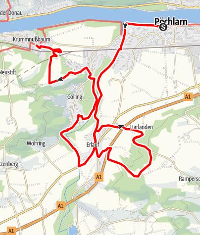 Map / Nibelungengau long distance trail 7: Pöchlarn - Krummnussbaum