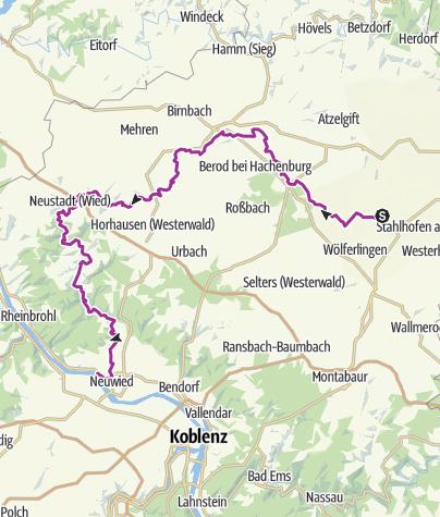 Karte / Auf dem Wied-Radweg durch herrliche Flusstäler radeln