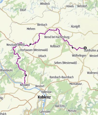 Kaart / Auf dem Wied-Radweg durch herrliche Flusstäler radeln
