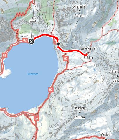 Karte / Douglasshütte - Lünerkrinne