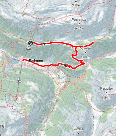 Karte / Vom Tafamunt zum Wiegensee und über den Schrofen (Außerganifer) nach Partenen