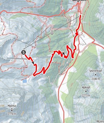 Karte / Vom Bergrestaurant Schafberg Hüsli über den Forstweg nach Gargellen