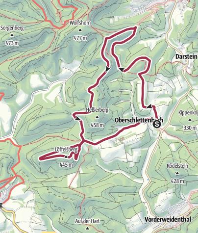 Karte / Oberschlettenbacher Höhenweg - große Tour