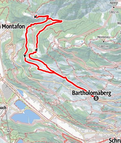 Kaart / Bartholomäberg - Lutt - Valleu