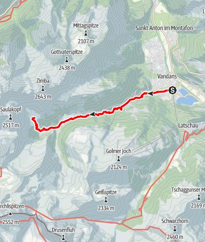 Karte / Vandans Golmerbahn - Rellstal - Heinrich-Hueter Hütte