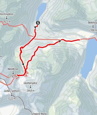 Karte / Vermuntsee - Saarbrücker Hütte - Silvretta-Bielerhöhe