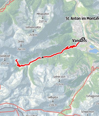 Map / Montafoner Hüttenrunde - Vandans bis Heinrich Hueter Hütte