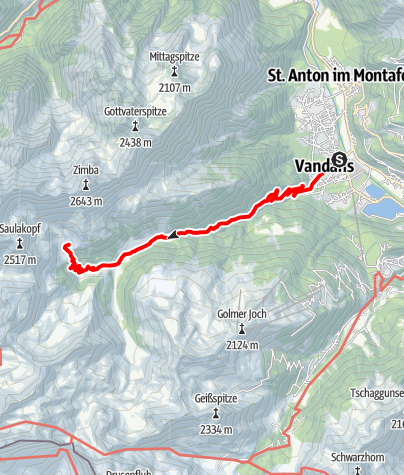 Kaart / Montafoner Hüttenrunde - Vandans bis Heinrich Hueter Hütte
